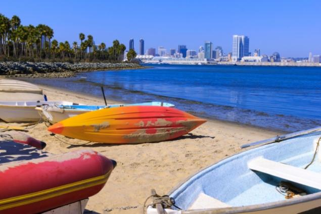 Boats on the beach overlooking San Diego