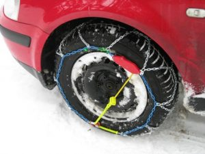 example of winterisation, car wheel with snow chains